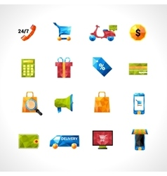 E-commerce polygonal icons vector