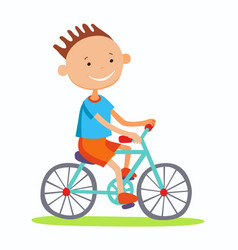 Editable of boy cycling vector