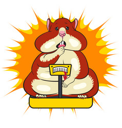 Fat funny hamster is standing on the scales vector
