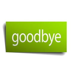 Goodbye green paper sign isolated on white vector