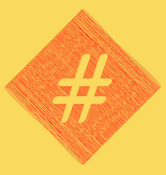 hashtag sign red scribble vector image vector image