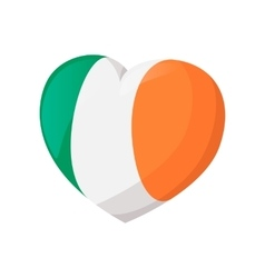 Heart in irish colors cartoon icon vector image