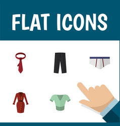 icon flat dress set of trousers underwear tie vector image vector image