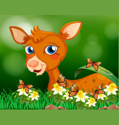 Little fawn in flower garden vector