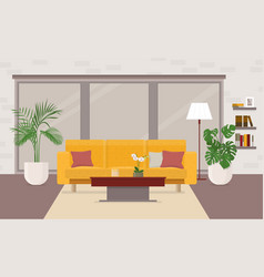 living room interior with furniture panoramic vector image