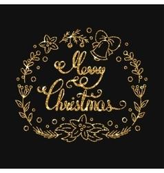 Merry christmas golden lettering design vector