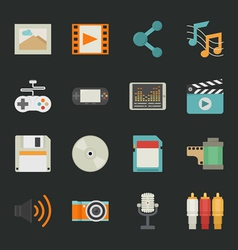 multimedia icons with black background eps10 vector image