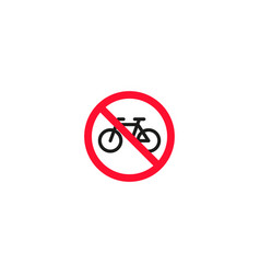 no bicycle roadsign isolated on white background vector image