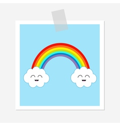 Rainbow and two white clouds smiling face emotion vector