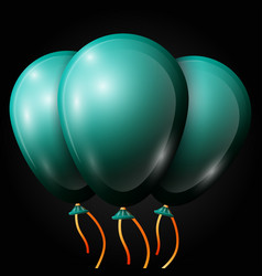 Realistic jade balloons with ribbon isolated vector