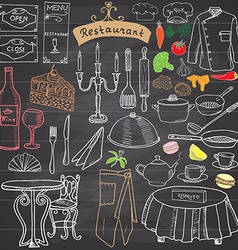 Restaurant sketch doodles set Hand drawn elements vector image