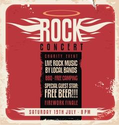 Rock concert retro poster design vector image vector image