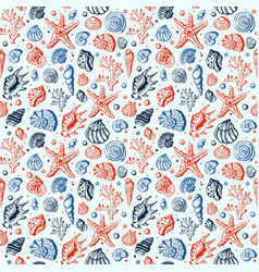 Sea life marine shells coral and underwater stars vector