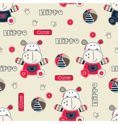 Seamless pattern with cartoon hippo vector image vector image