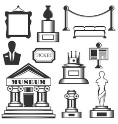 set of museum isolated icons black and vector image