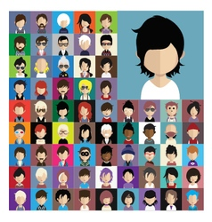 Set of people icons in flat style with faces 10 a vector