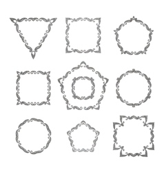 set of ten different retro floral frame vector image vector image