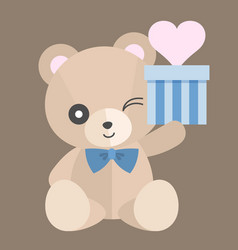 teddy bear with gift set 1 vector image
