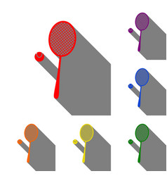 tennis racquet sign set of red orange yellow vector image