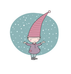 Cute little gnome elf and snow isolated objects vector