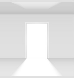 Open door with light on white for design vector