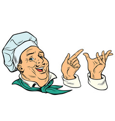 set french or italian cook and hand gestures vector image