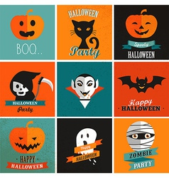 Halloween cute set of icons vector