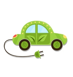 Llustration green electric car with plug electric vector