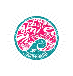 Surf wave emblem in retro style vector
