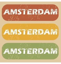 Vintage amsterdam stamp set vector