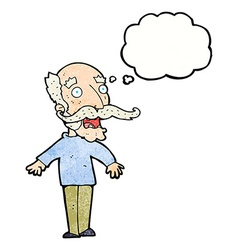 Cartoon old man gasping in surprise with thought vector
