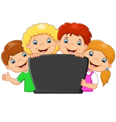 Cartoon happy family with laptop vector