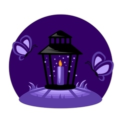 Funeral candle in the night vector