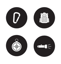 Hiking equipment black icons set vector