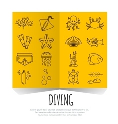 Diving icons set with fish and equipment on vector