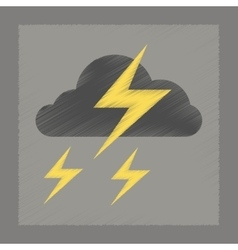 Flat shading style icon lightning cloud vector