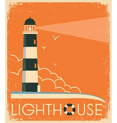 Lighthouse and sky on old poster vintage image vector