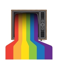 Retro tv with rainbow vector