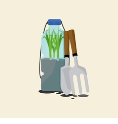 Green onions cultivating in reuse water bottle vector