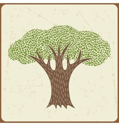 Abstract background with stylized tree in retro vector image