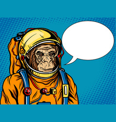 astronaut monkey space suit pop art style vector image vector image
