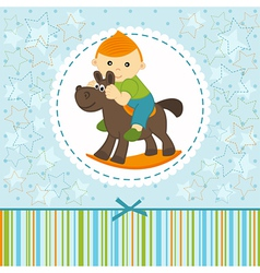 baby boy riding on the horse vector image vector image