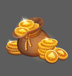 bag of gold coins icon vector image