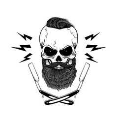 bearded skull with blades vector image