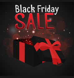 black friday sale with a festive box and sparkles vector image