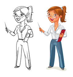 business woman stands at the blackboard vector image