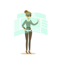 Businesswoman wearing vr headset working in vector