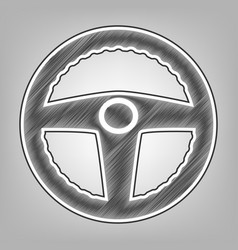 Car driver sign pencil sketch imitation vector