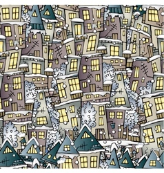 Cartoon fairy tale winter houses pattern vector
