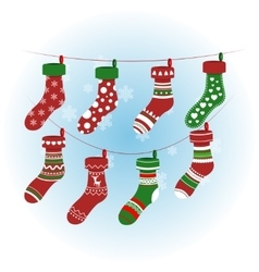 Christmas socks in red colour colorful vector image